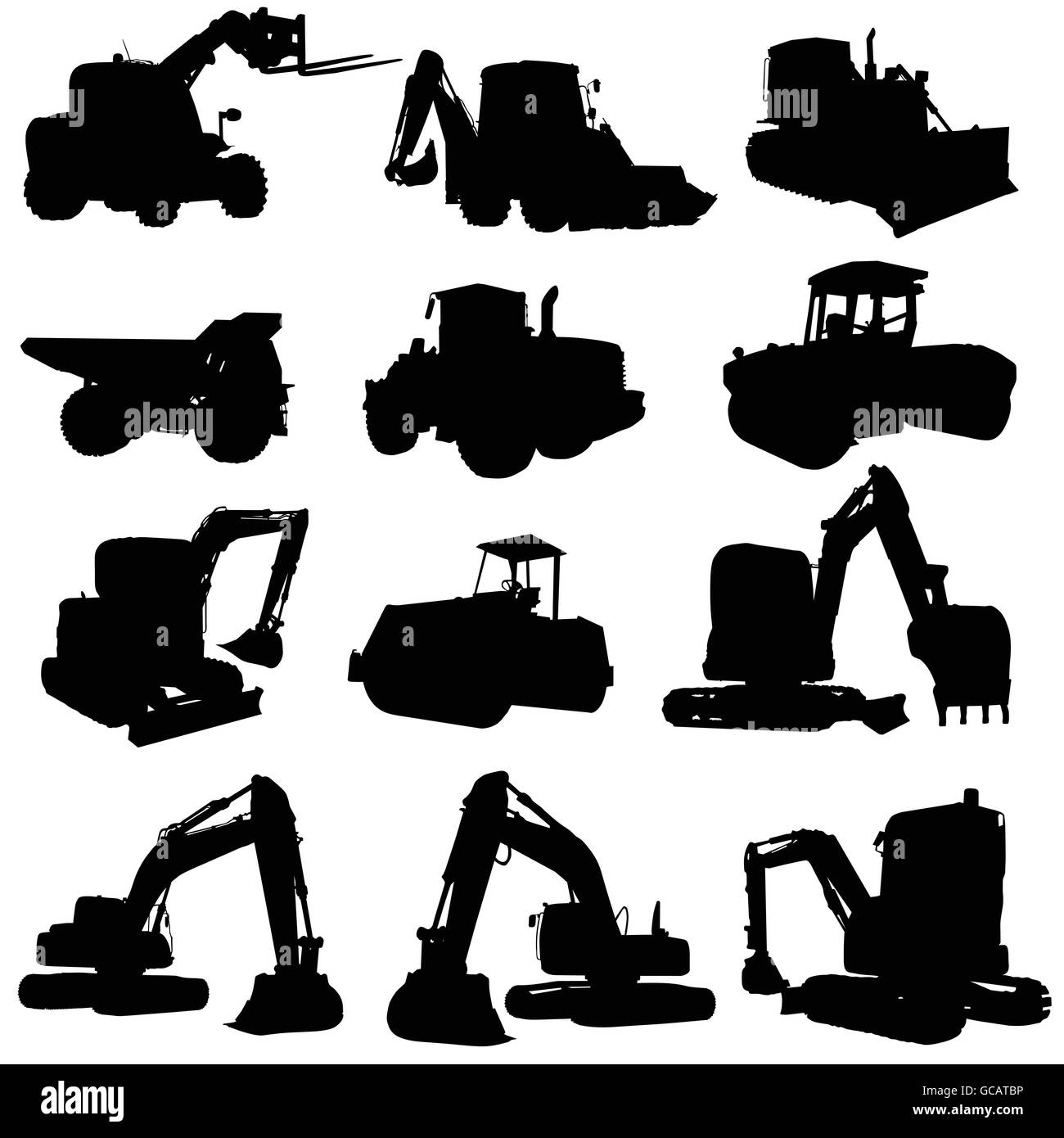 construction vehicle black silhouette on white background - Stock Vector