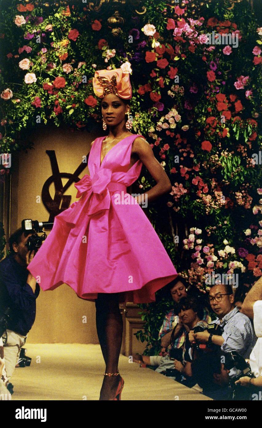 fashion fashion show haute couture paris yves saint laurent stock photo 110877200 alamy. Black Bedroom Furniture Sets. Home Design Ideas