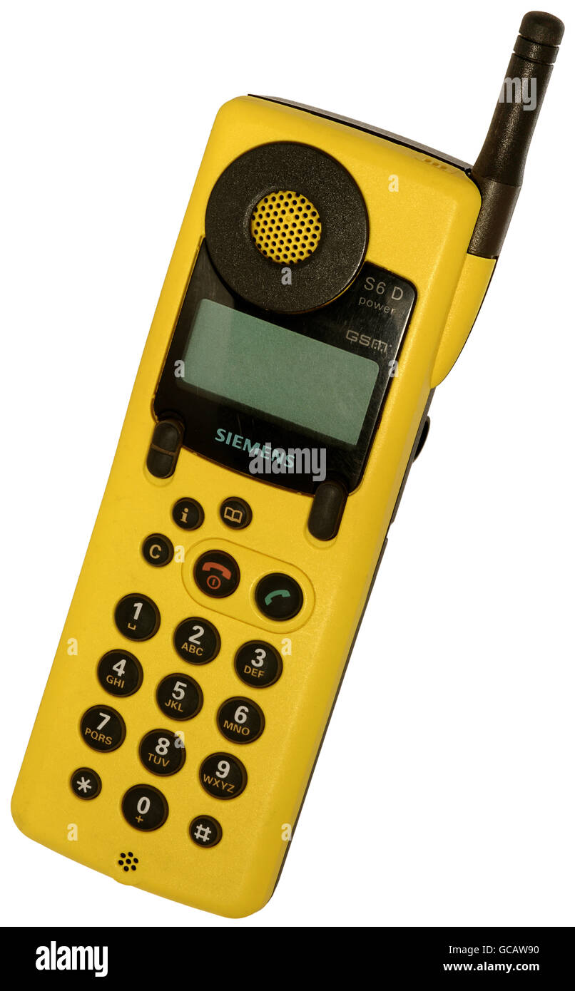 technics, telecommunications, mobile radio, mobile phone, Siemens S6D power, Germany, circa 1997, Additional-Rights - Stock Image