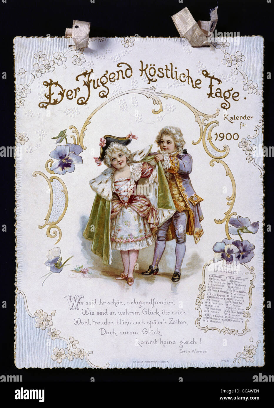 calendar, page, 'Der Jugend köstliche Tage' ('Delightful, Days of Youth'), colour lithograph, - Stock Image