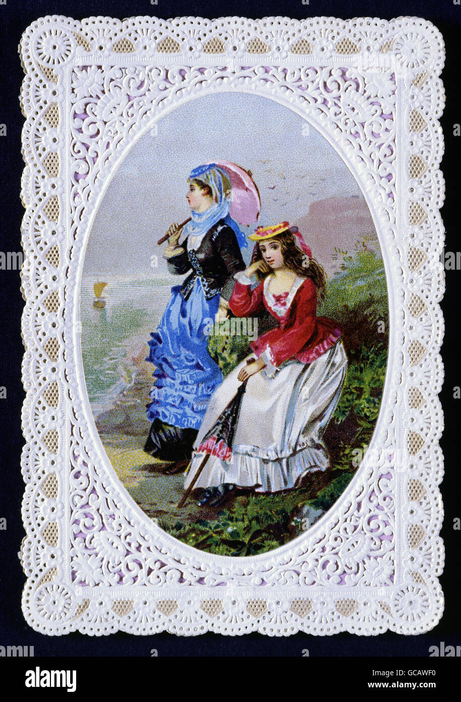 Fine Arts Paper Greeting Cards Embrossed Colour Lithograph Circa