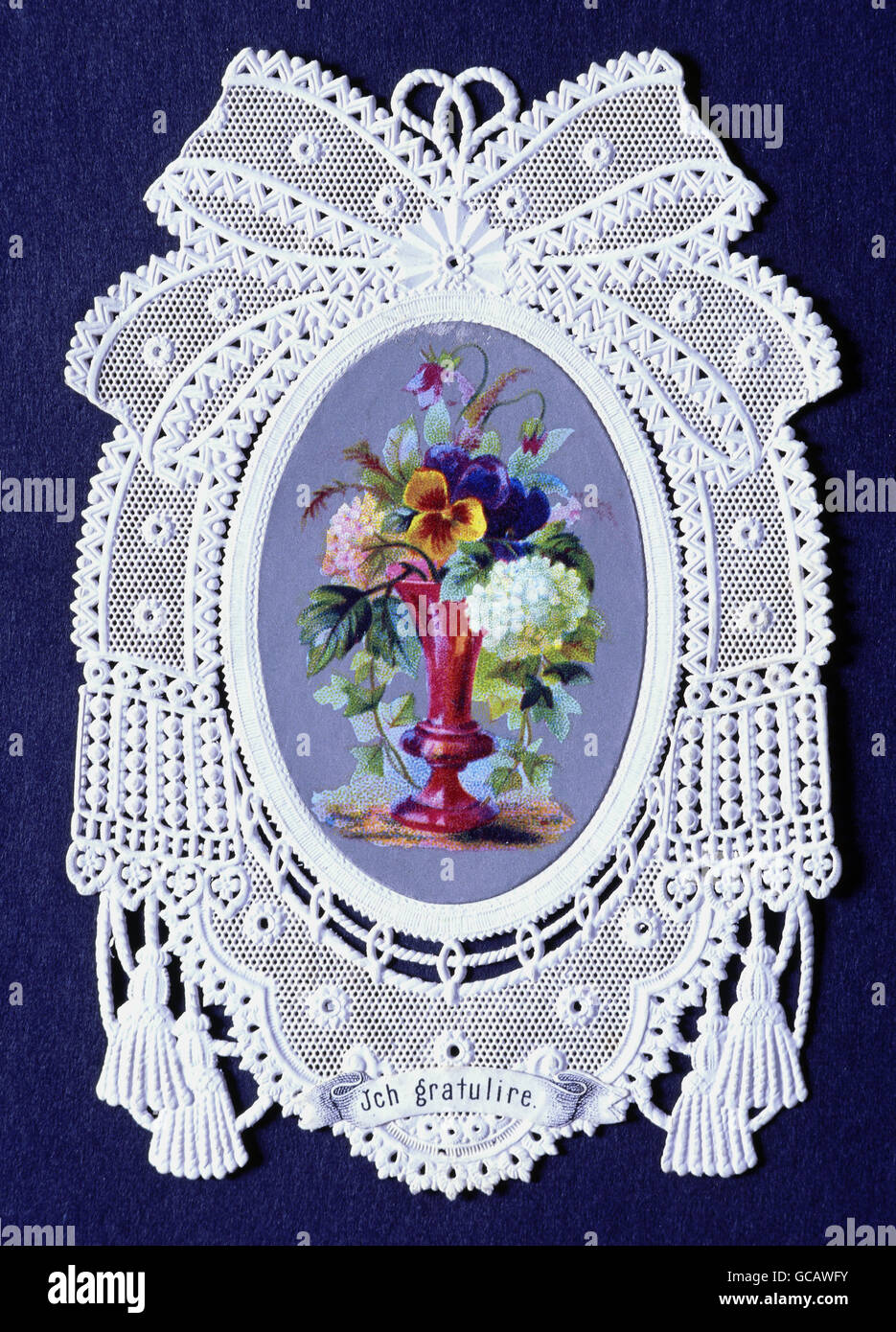 Fine Arts Paper Greeting Cards Colour Lithograph With Paper Lace