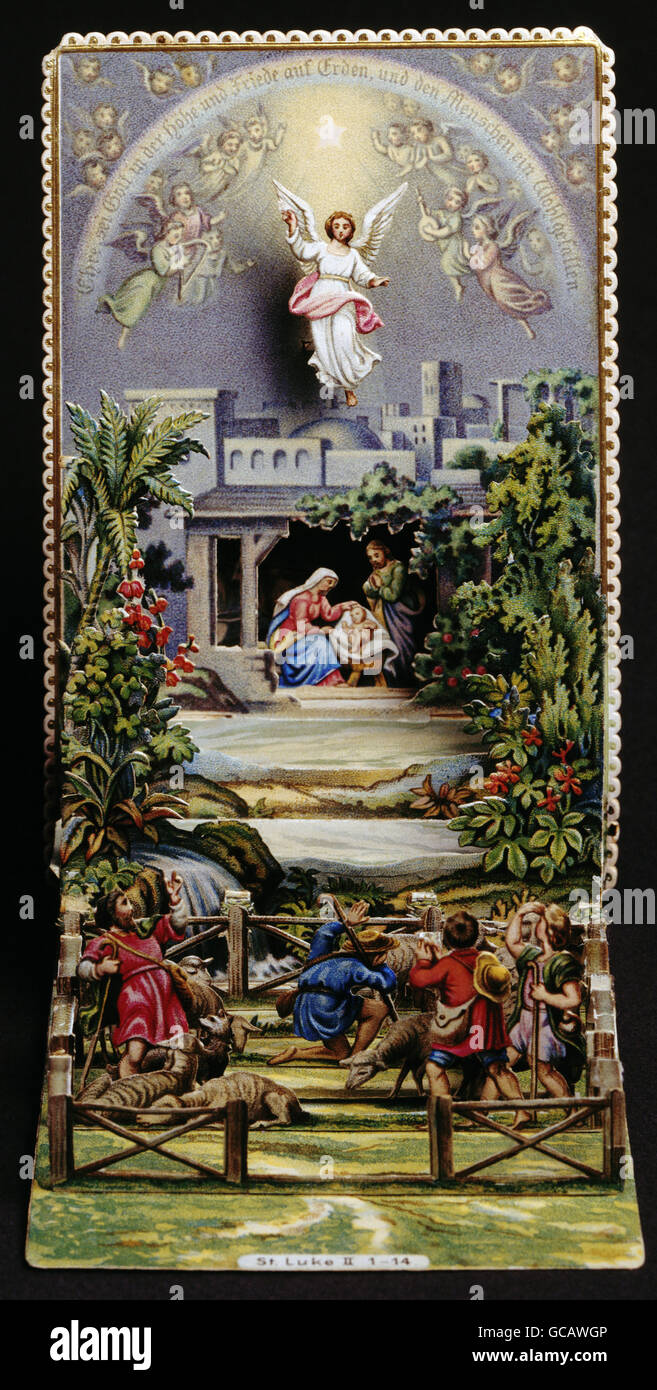 christmas greeting card birth of jesus christ 19th