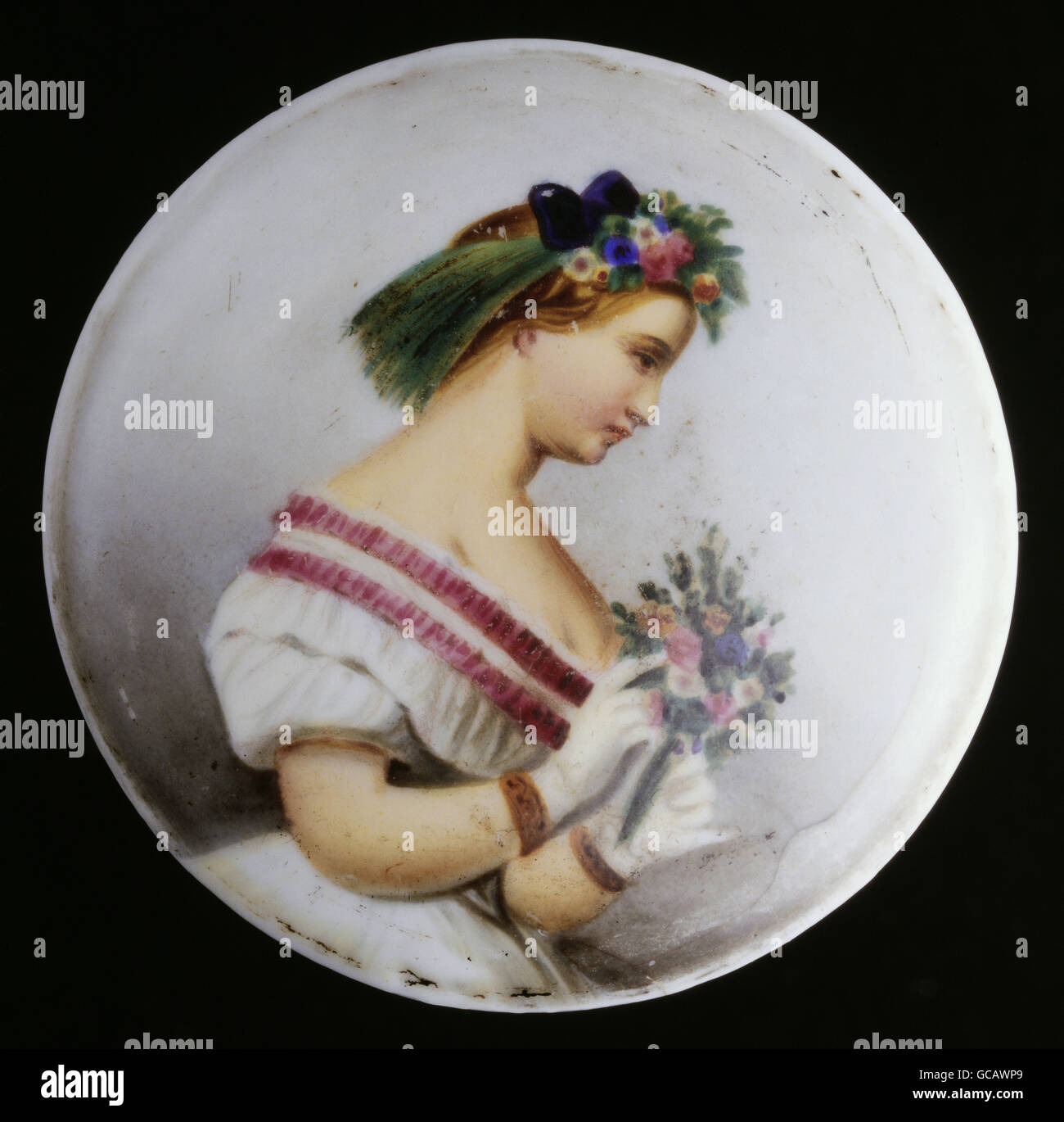 fine arts, painting, painted beer jug lid, porcelain painting, girl with flowers, Germany, 2nd half 19th century, - Stock Image