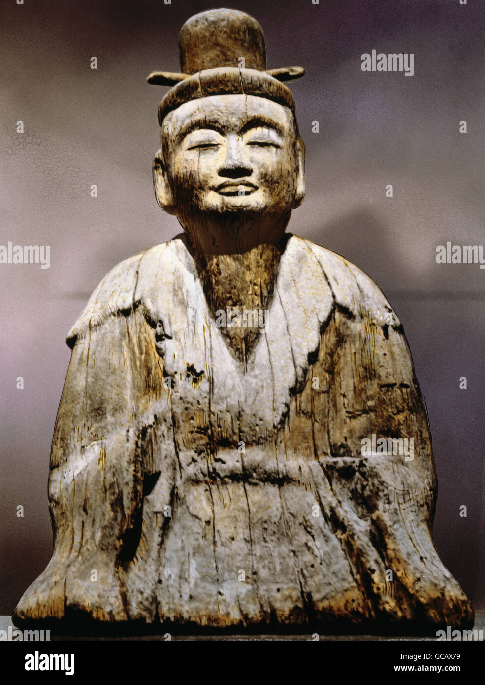 fine arts, Japan, sculpture, wood, sitting Shinto deity, Heian Period (794 - 1185), Museum for Asian Art, Berlin, - Stock Image