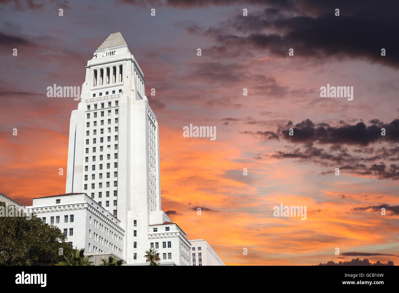 Downtown Los Angeles city hall building with sunrise sky. - Stock Image
