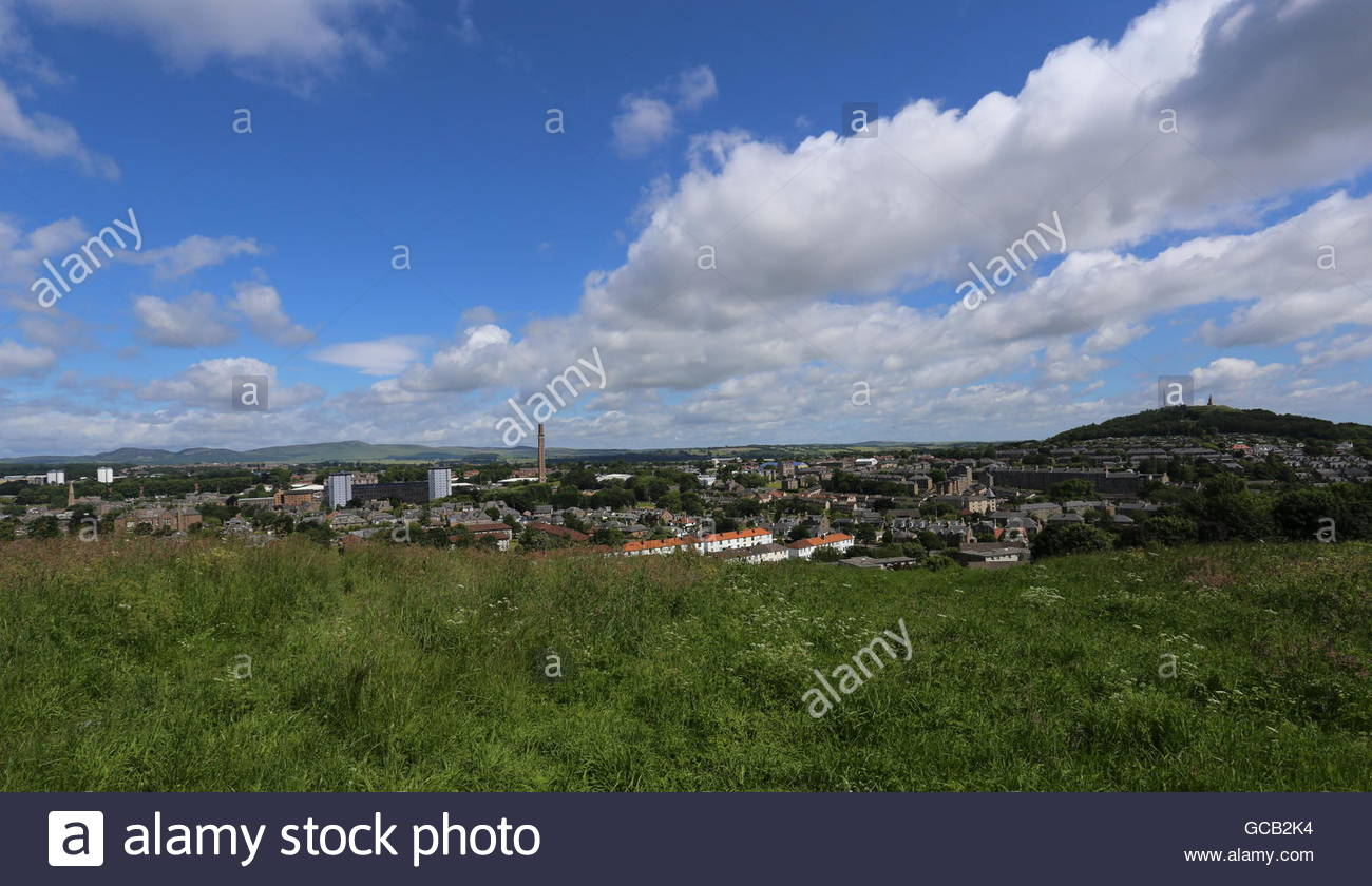 Elevated view of Lochee including Cox's stack chimney Dundee Scotland  January 2016 - Stock Image
