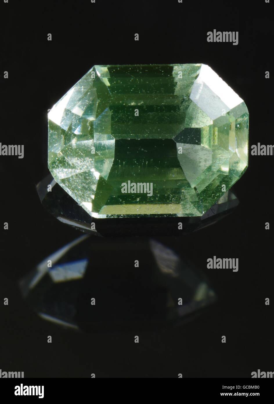 Synthetic corundum on the black background, emerald cut. Origin: Skawina, Poland. - Stock Image
