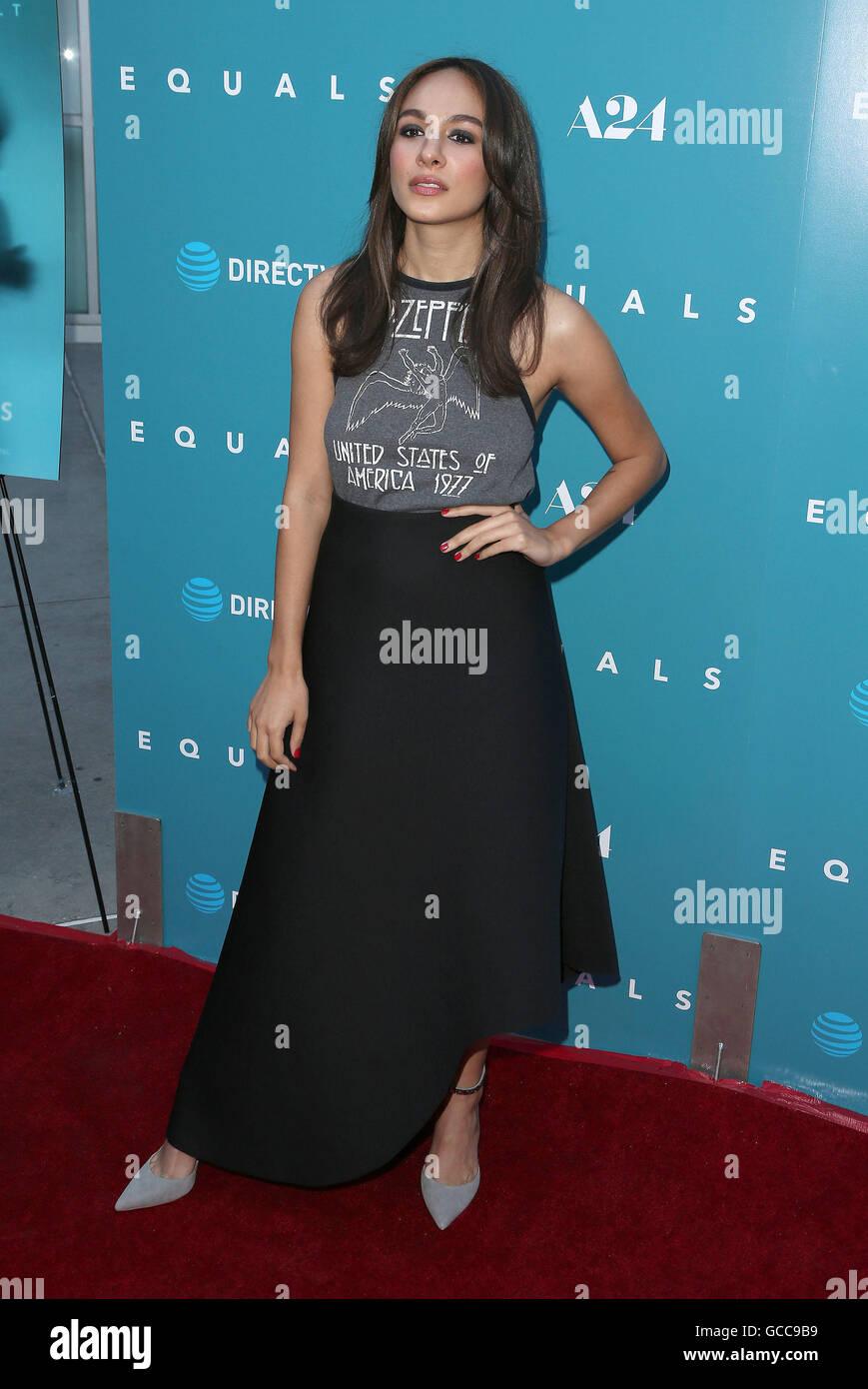 Hollywood, CA, USA. 7th July, 2016. 07 July 2016 - Hollywood, California - Aurora Perrineau. ''Equals'' Los Angeles Stock Photo