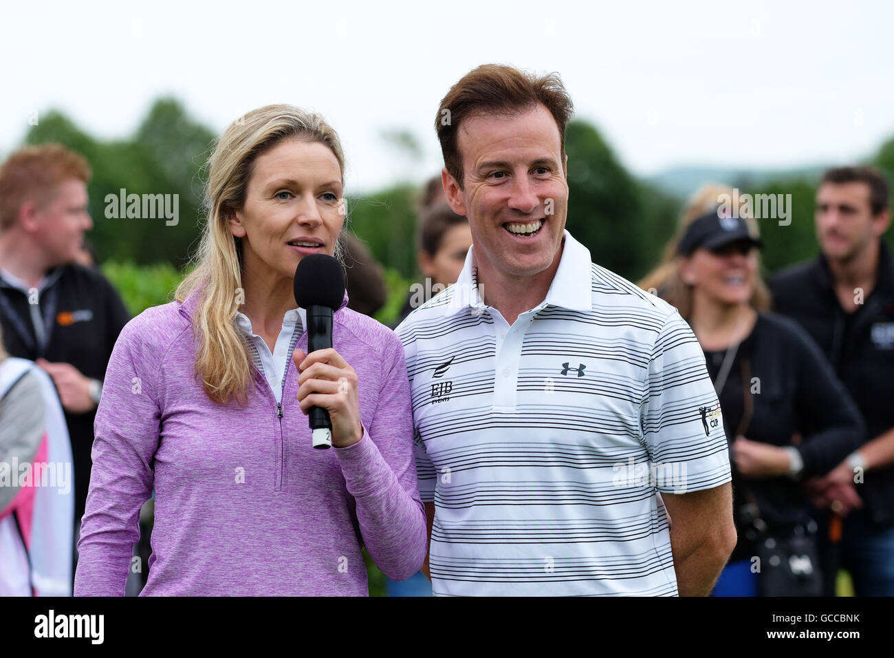 Celtic Manor, Newport, Wales - Saturday 9th July 2016 - The Celebrity Cup golf competition host Di Dougherty introduces - Stock Image