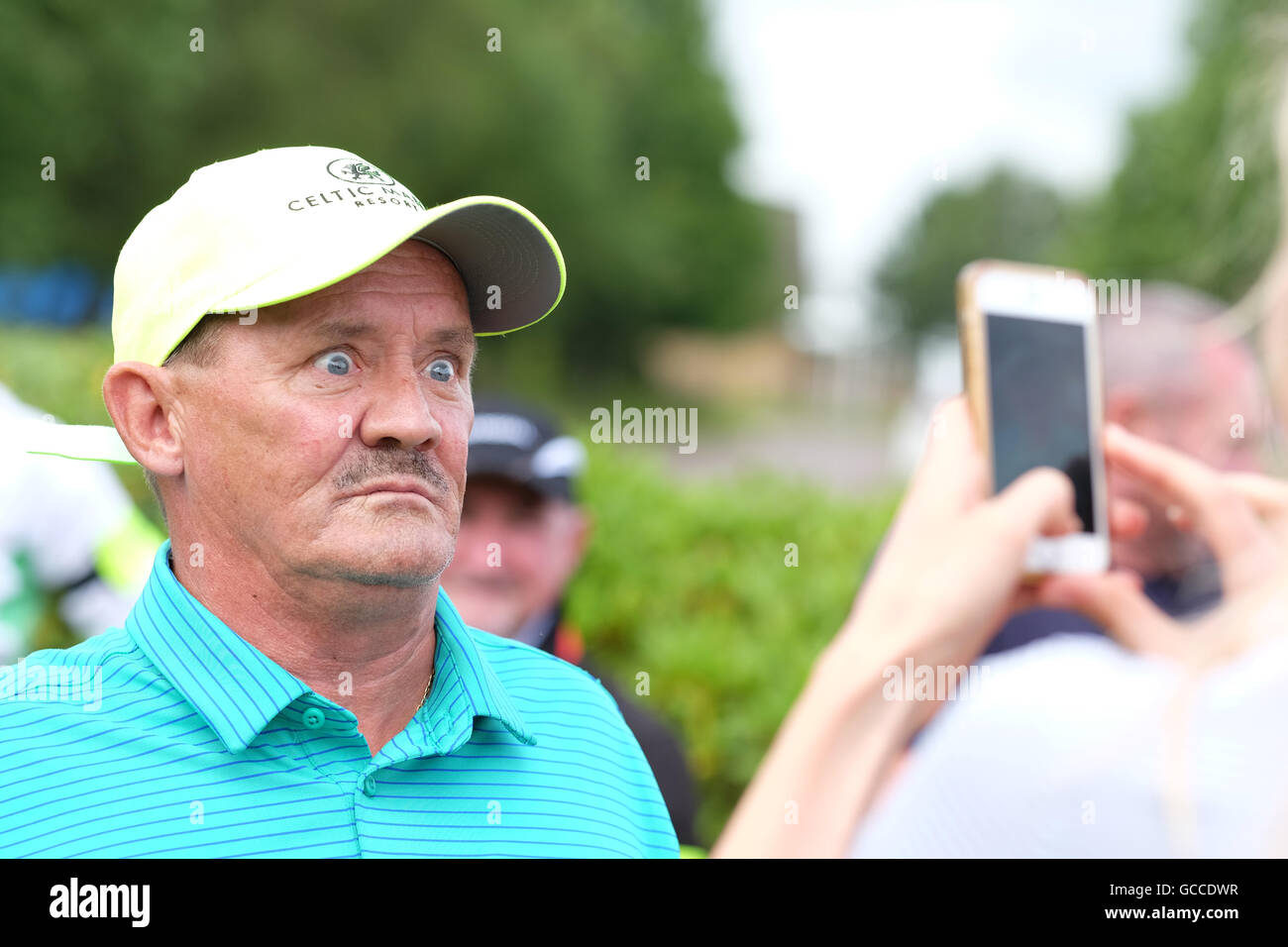 Celtic Manor, Newport, Wales - Saturday 9th July 2016 - The Celebrity Cup golf competition comedian Brendan O'Carroll - Stock Image