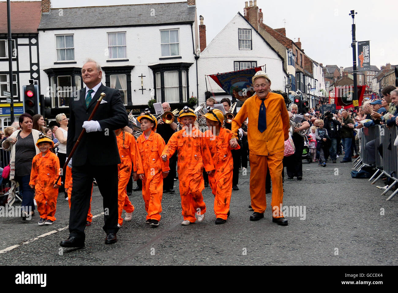 Durham, UK  9th July, 2016  A 90 year old miner leads the