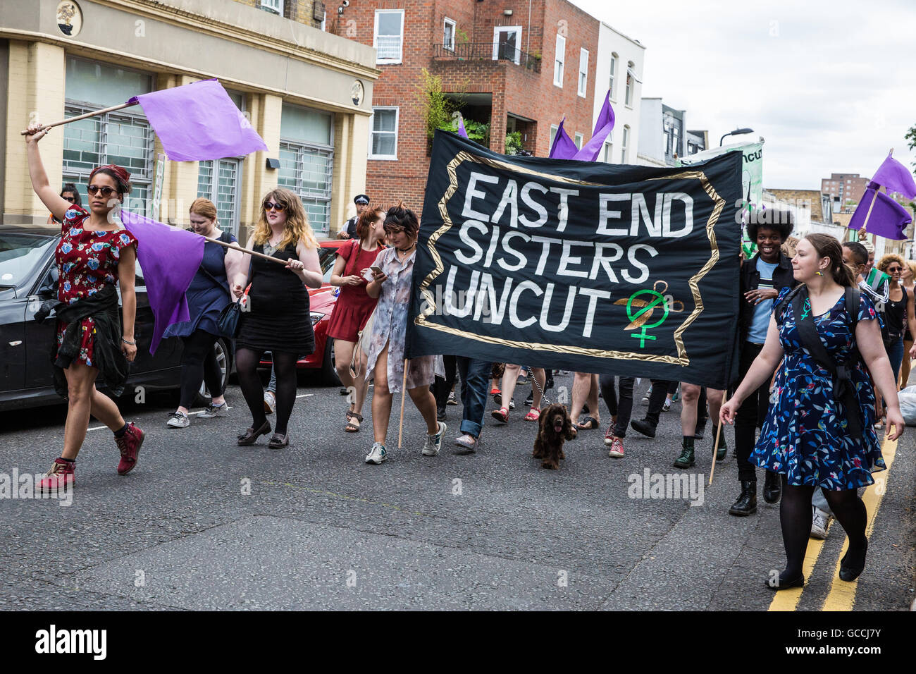London, UK. 9th July, 2016. Feminist direct action group Sisters Uncut march in Hackney to call on both Hackney Council and the Government not to implement the Housing Act, to cease the demolition of council housing and to invest funds in both social housing and refuges for women fleeing domestic violence. The protest took the form of a march to a social housing block currently being occupied - a protest occupation - by Sisters Uncut. Credit:  Mark Kerrison/Alamy Live News Stock Photo