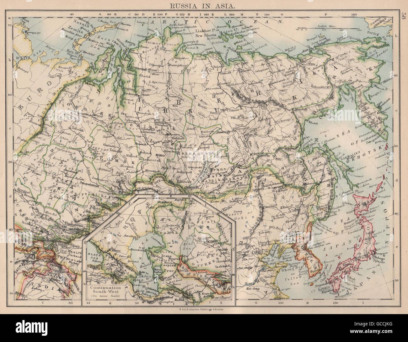 RUSSIA IN ASIA Siberia Central Asia Caspian Sea Irkutsk JOHNSTON