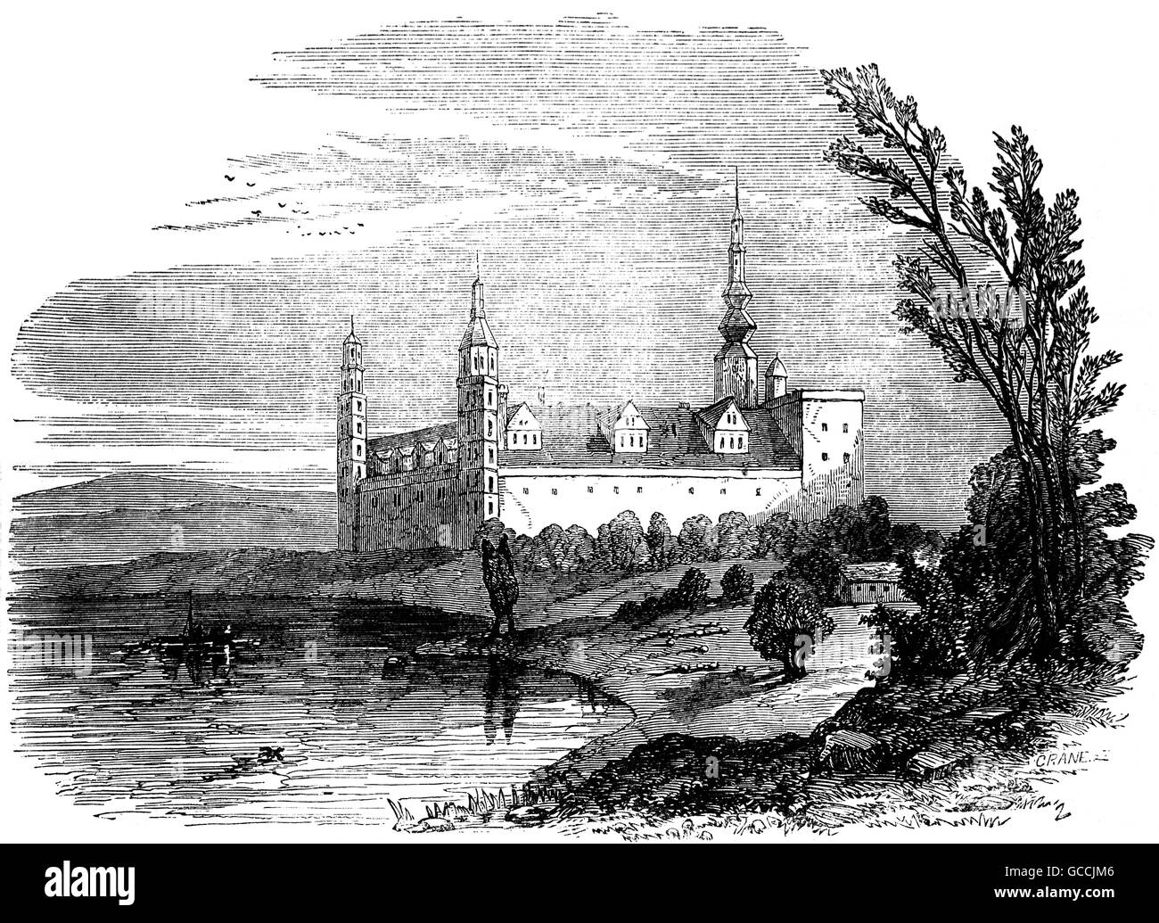 18th Century view of Kronborg Castle in Helsingør, Denmark, immortalized as Elsinore in William Shakespeare's - Stock Image