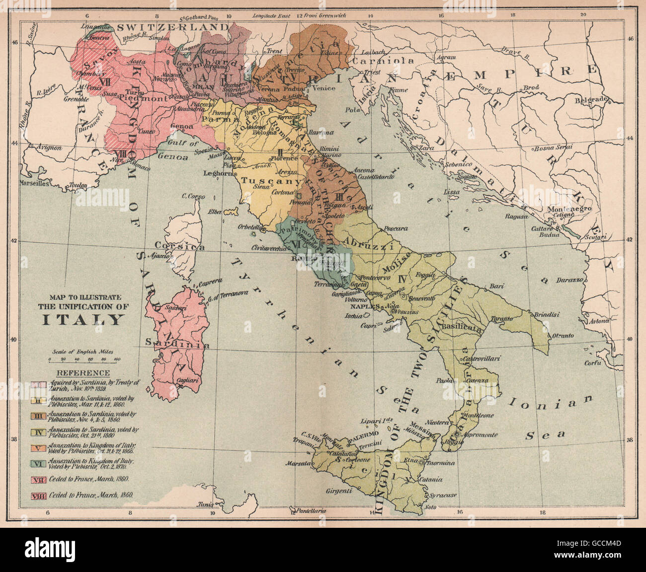 Unification Of Italy Acquisitions Annexations 1859 1870 1910