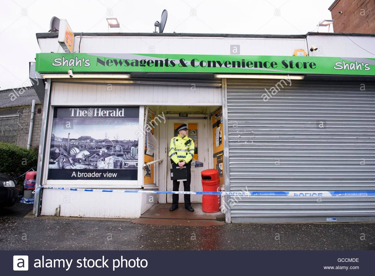 File photo dated 26/3/2016 of the shop where Asad Shah worked in Shawlands, Glasgow as Tanveer Ahmed has pleaded - Stock Image