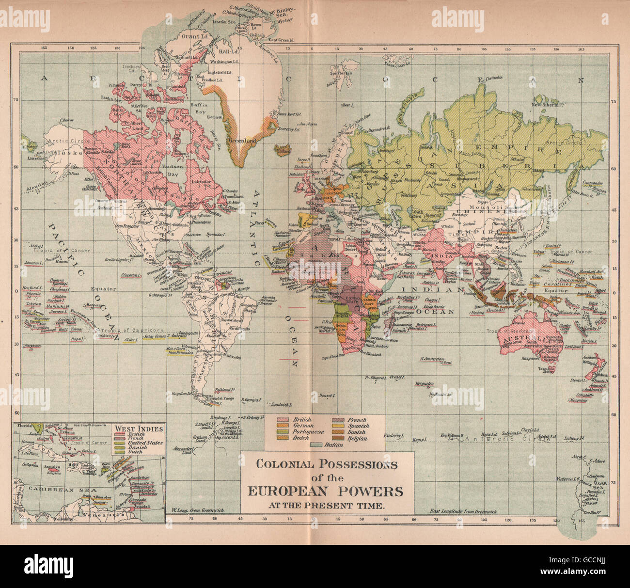 World 1910 Colonial Possessions Africa Asia India West East Indies