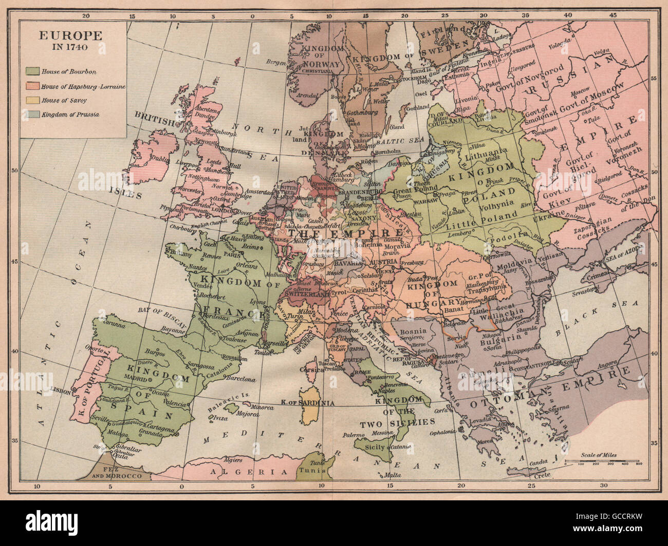 EUROPE IN 1740. Ottoman Empire. Kingdom of Poland. Hungary, 1917 vintage map
