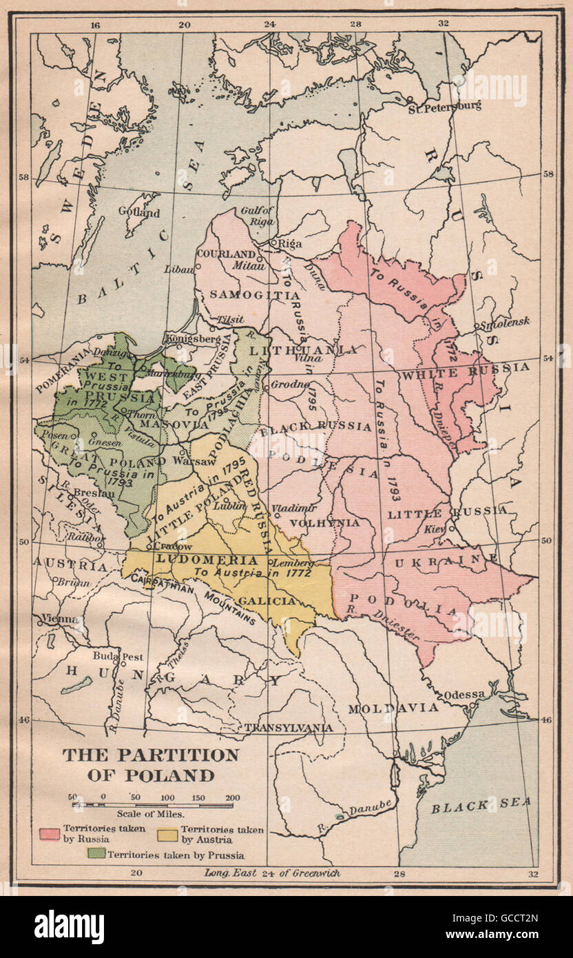Russia Map 1917.The Partition Of Poland To Prussia Russia Austria In 1772 1793