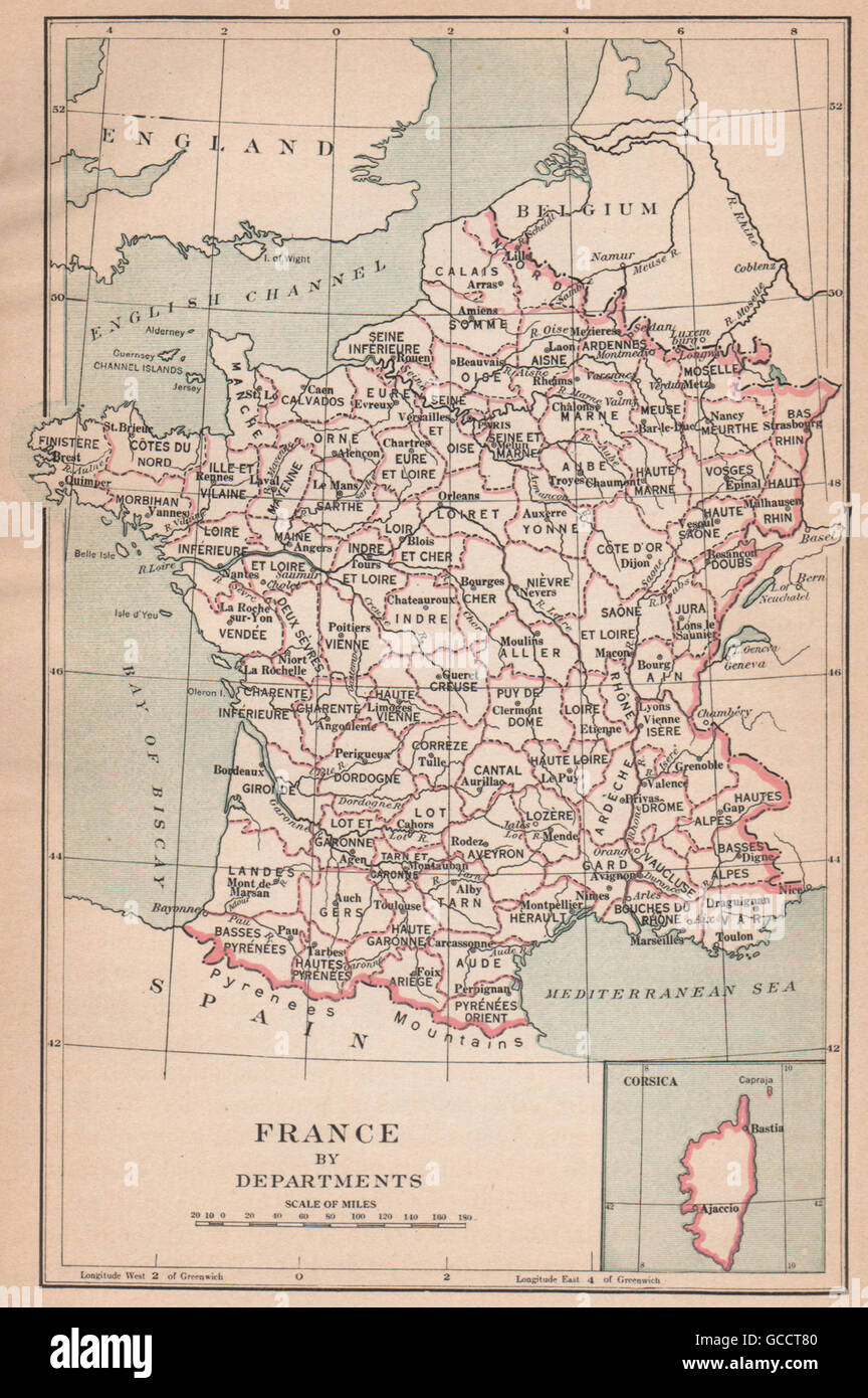 Map Of France In 1789.France From 1789 France By Departments 1917 Vintage Map Stock