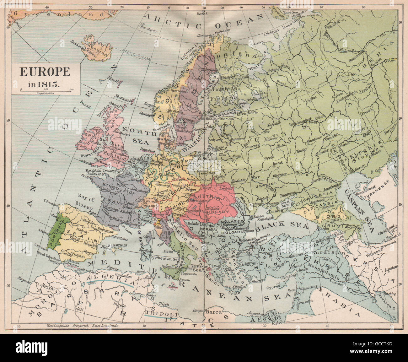 EUROPE 1815. Austria-Hungary. German Confederation. Ottoman Empire ...