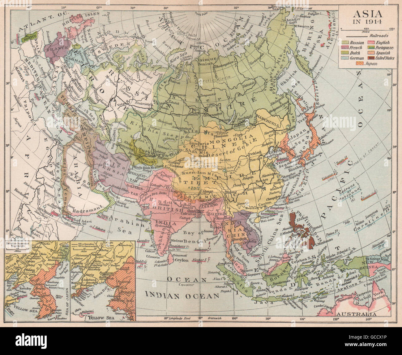 Map Of Asia 1914.Colonial Asia 1914 East Indies C Russian Japanese War 1904 05