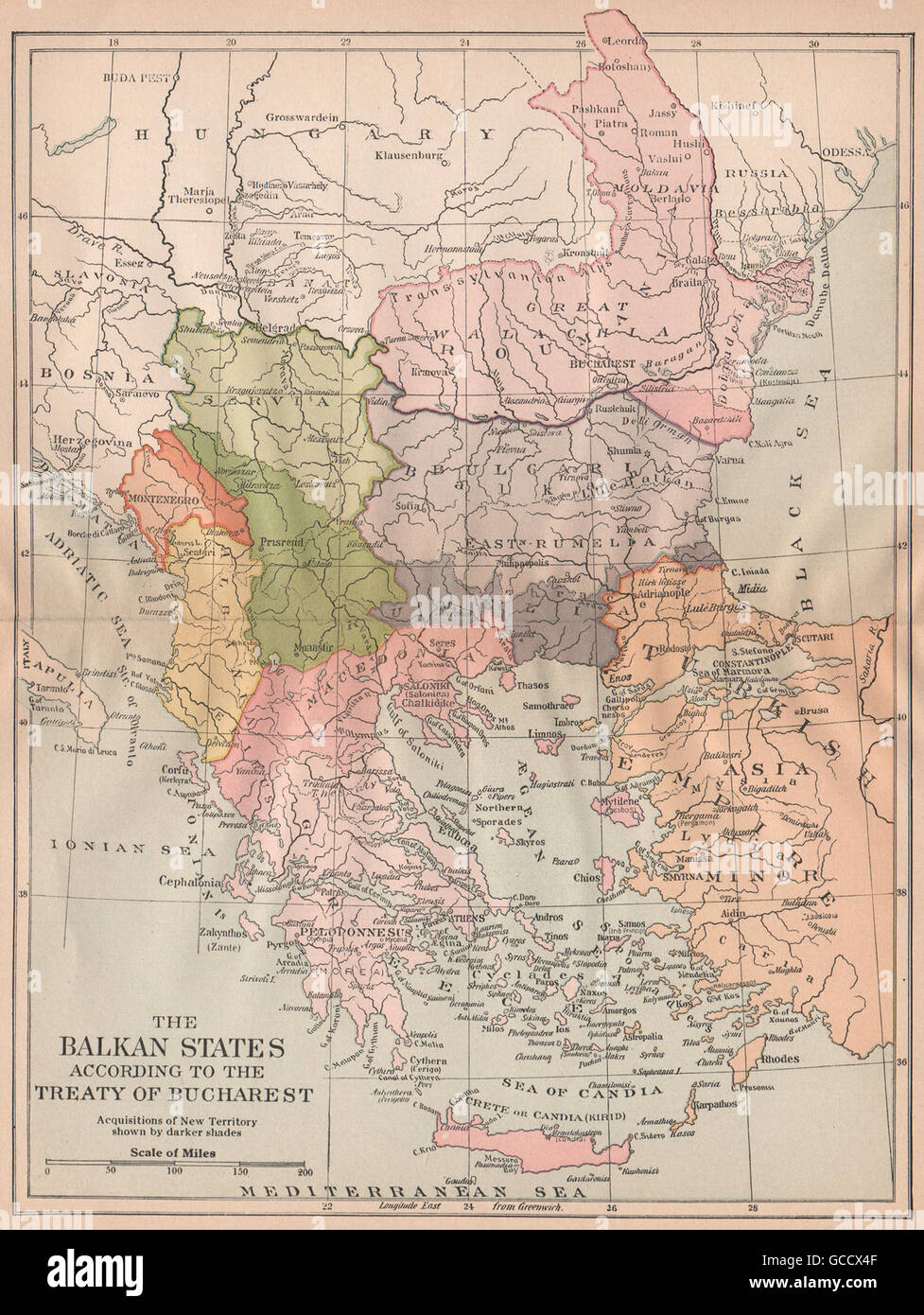 TREATY OF BUCHAREST 1913. Balkan States. Territorial modifications, 1917 map - Stock Image