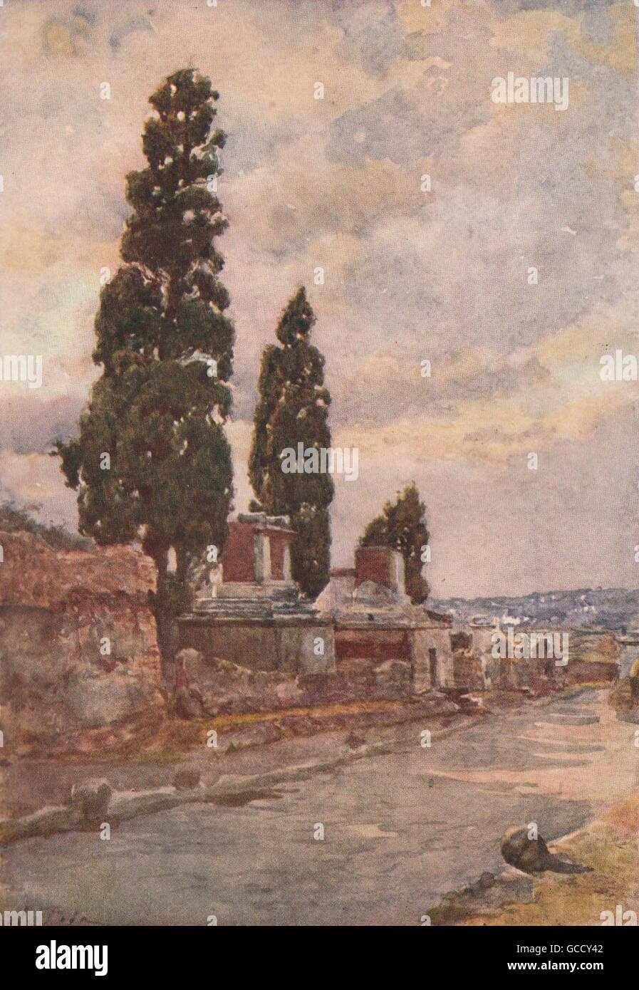 Entrance to the Triangular Forum POMPEII By Alberto Pisa 1910 old print