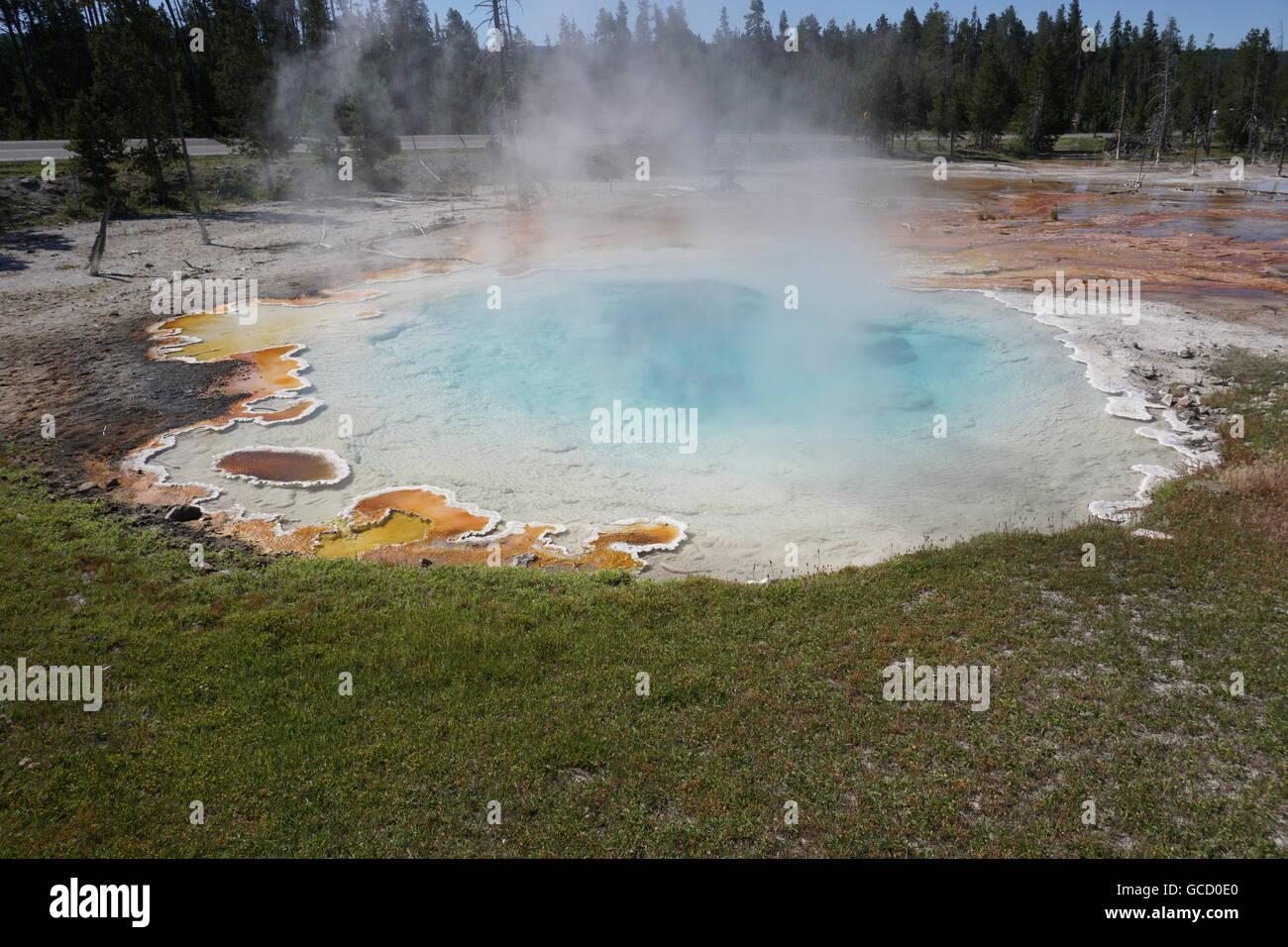 Celestine Pool at Fountain Paint Pot / Lower Geyser Basin, Yellowstone National Park Stock Photo