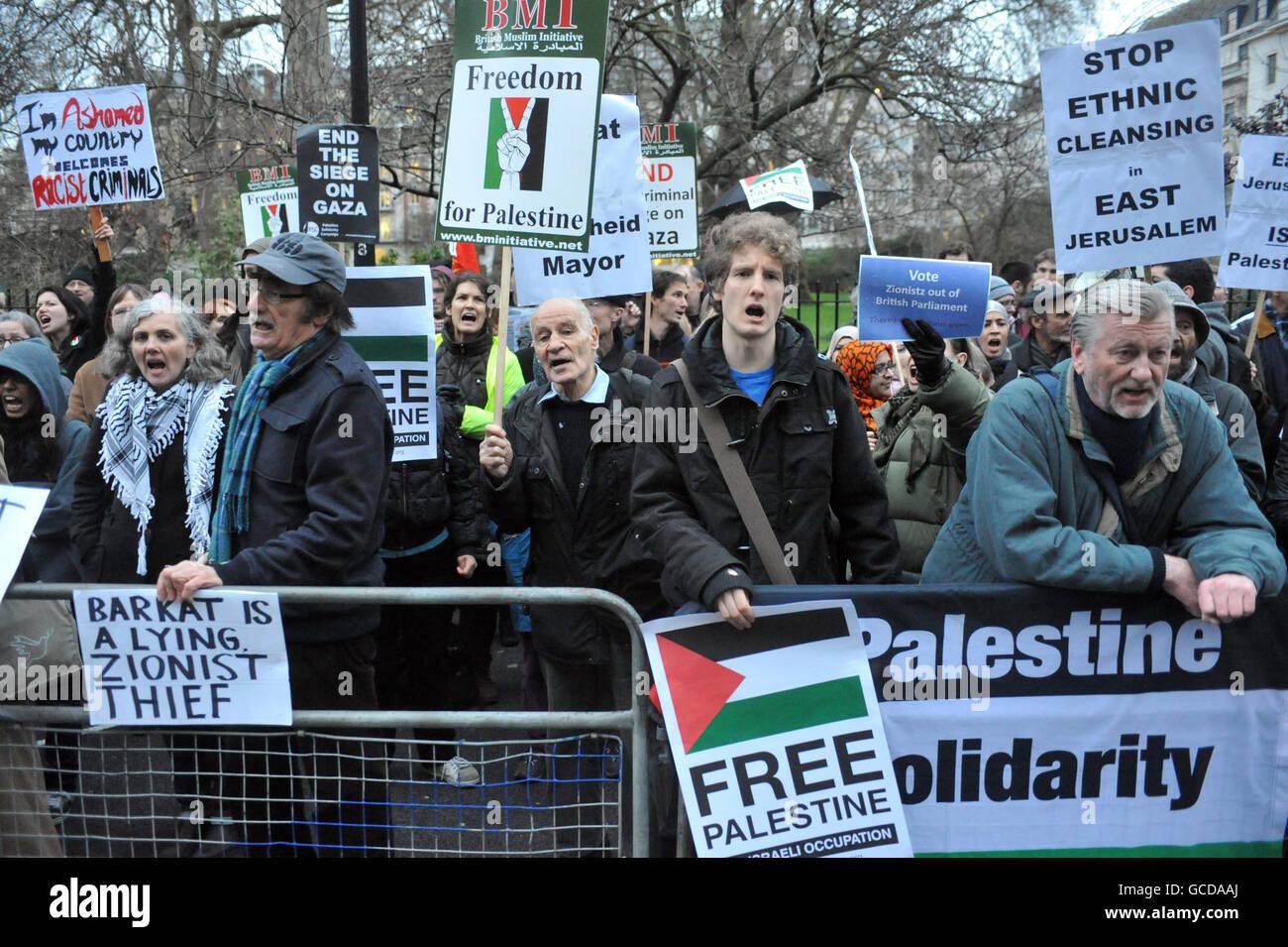 Nir Barkat protest - Stock Image