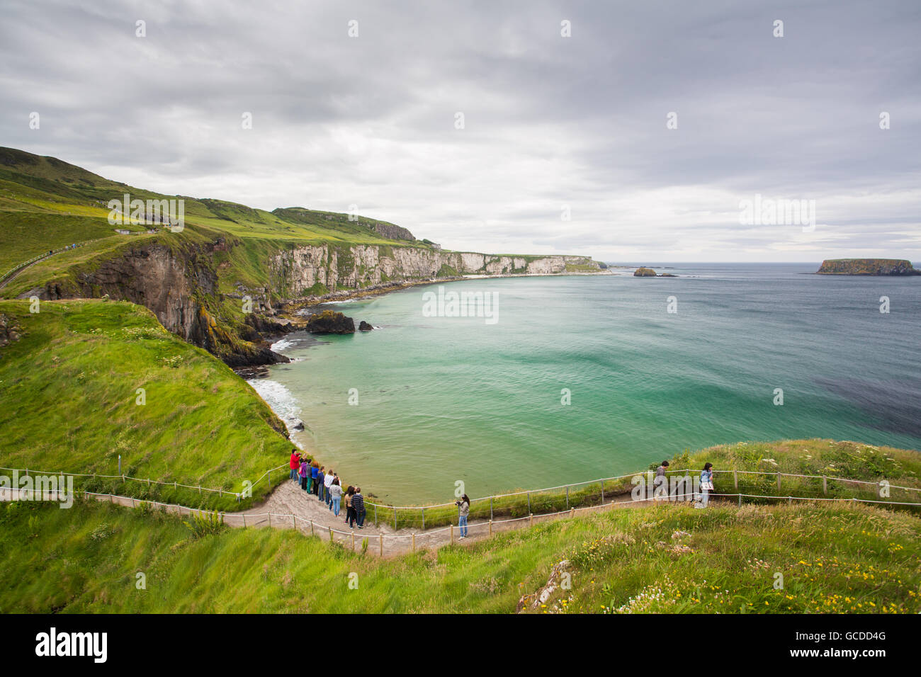 The path leading to the Carrick-a-Rede rope bridge in Antrim, Northern Ireland - Stock Image