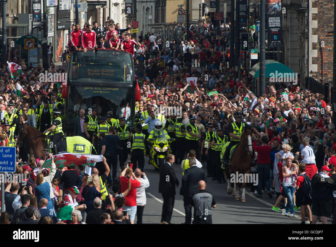 The Welsh football team are welcomed home with a public celebration event in Cardiff after reaching the semi-finals - Stock Image