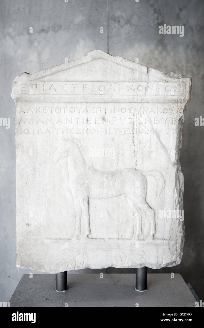 Interior view of the new Acropolis museum in Athens. Honorary decree for Alketas. King of th - Stock Image