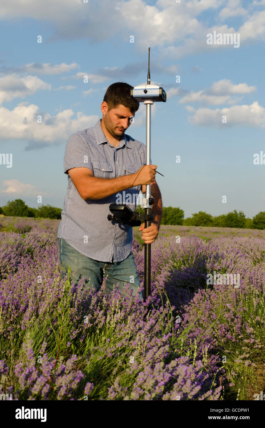 Land surveying in a lavender field around Kazanlak - Stock Image