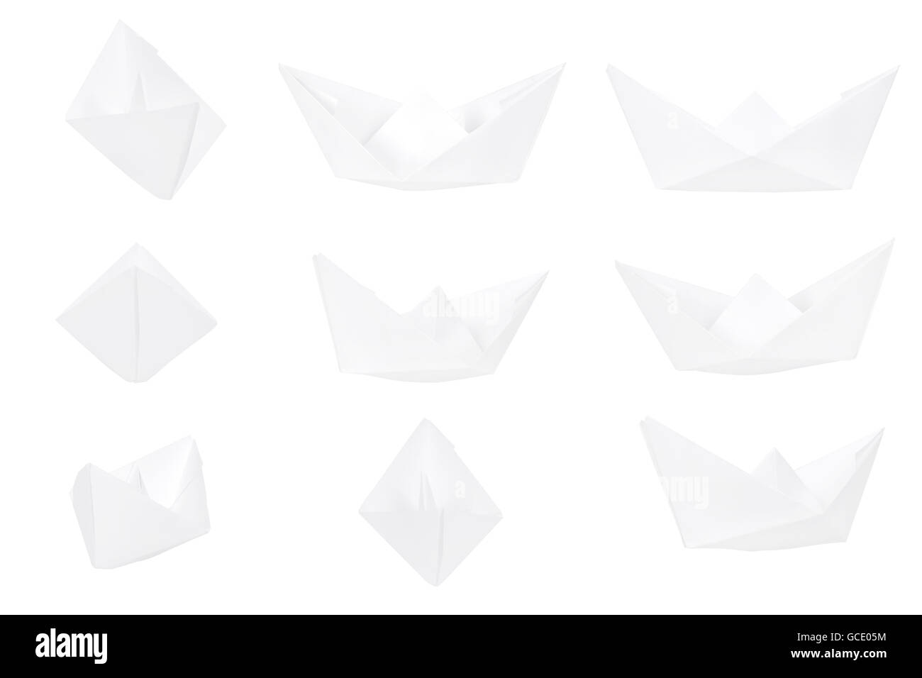 Different Views Of A Paper Boat Isolated On White Background Paper