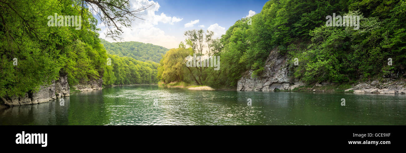 mountain river with stones on the shore in the forest near the mountain slope - Stock Image