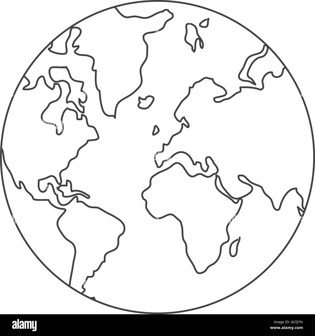 Line Drawing World Map : World map globe earth icon stock vector art illustration