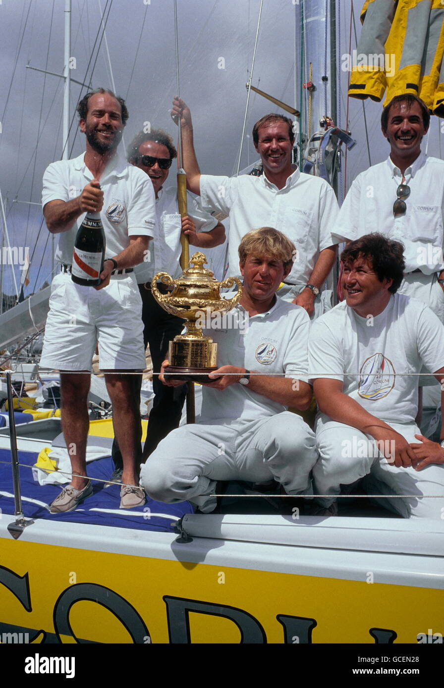 AJAXNETPHOTO. 15TH AUGUST,1991. PLYMOUTH, ENGLAND. - ADMIRAL'S CUP VICTORS - THE FRENCH YACHTING TEAM LEADERS - Stock Image