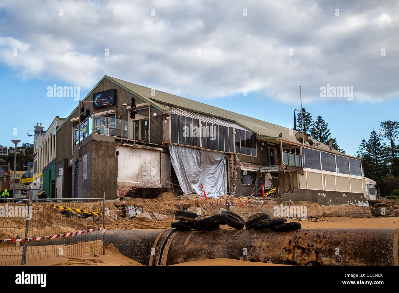 The Collaroy Beach Club shows extensive structural damage after Australia's worst storms for 40 years. - Stock Image