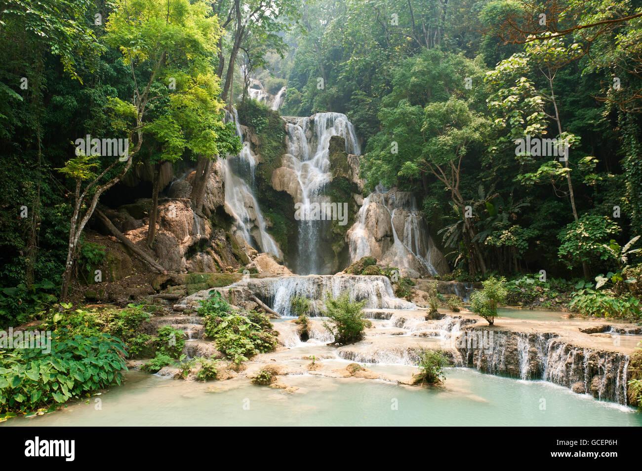 Waterfall with natural pools in the jungle, Kuang Si Waterfall, near Luang Prabang, Laos Stock Photo