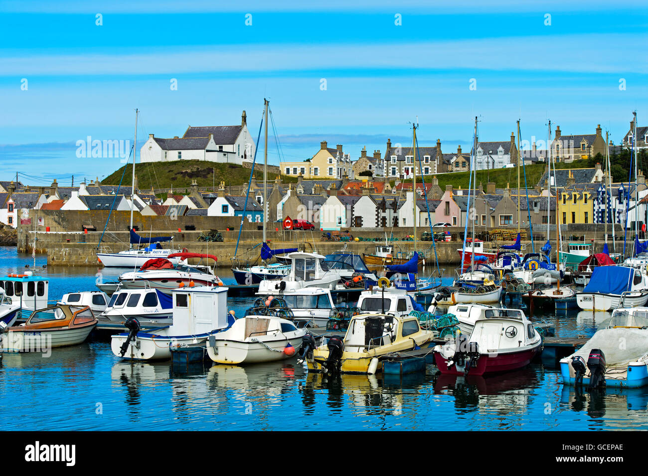 Fishing village, Findochty Harbour, Moray Firth, Scotland, United Kingdom Stock Photo