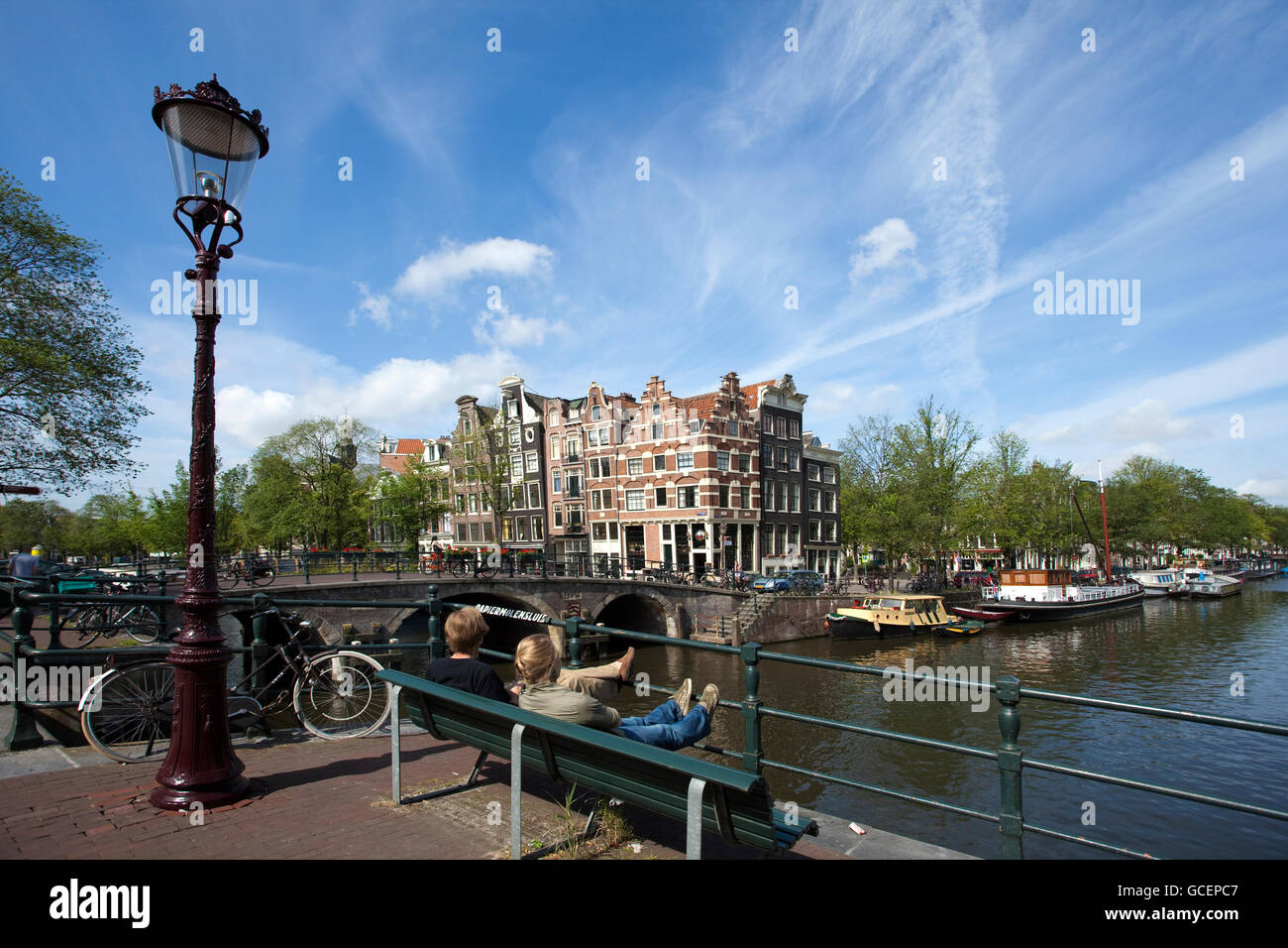 North Grachtengordel or Amsterdam Canal District, Prinsengracht canal corner Brouwer, Amsterdam, Holland, Netherlands, - Stock Image