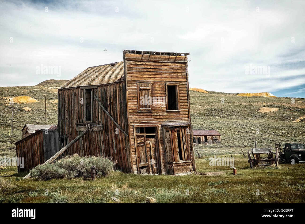 Abandoned buildings in the mining ghost two of Bodie, California. - Stock Image