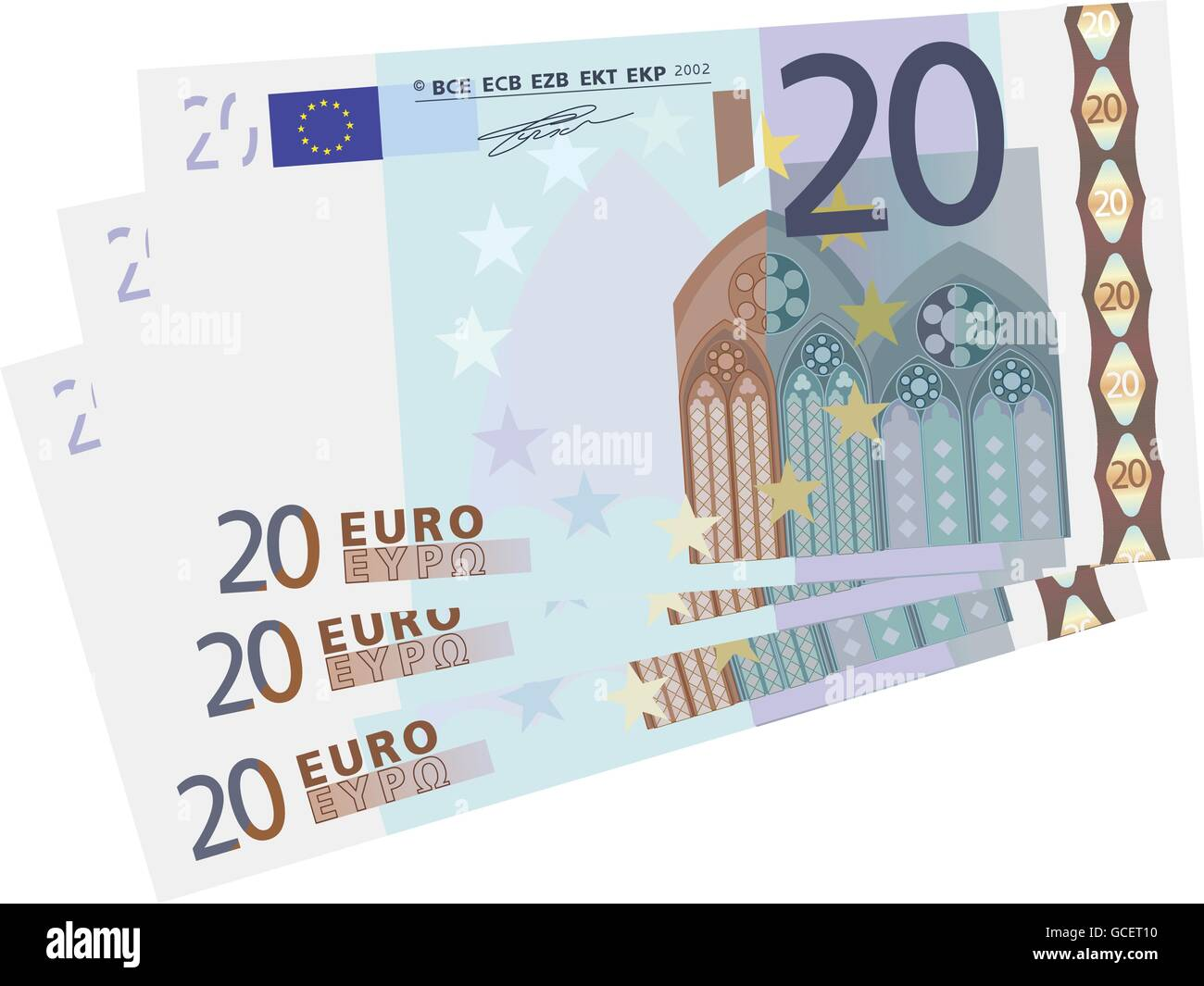 drawing of a 3x 20 Euro bills simplified - Stock Vector