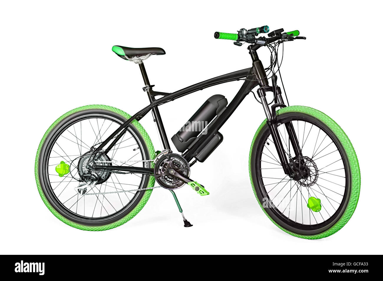 Black and green electric bike isolated on white with clipping path - Stock Image