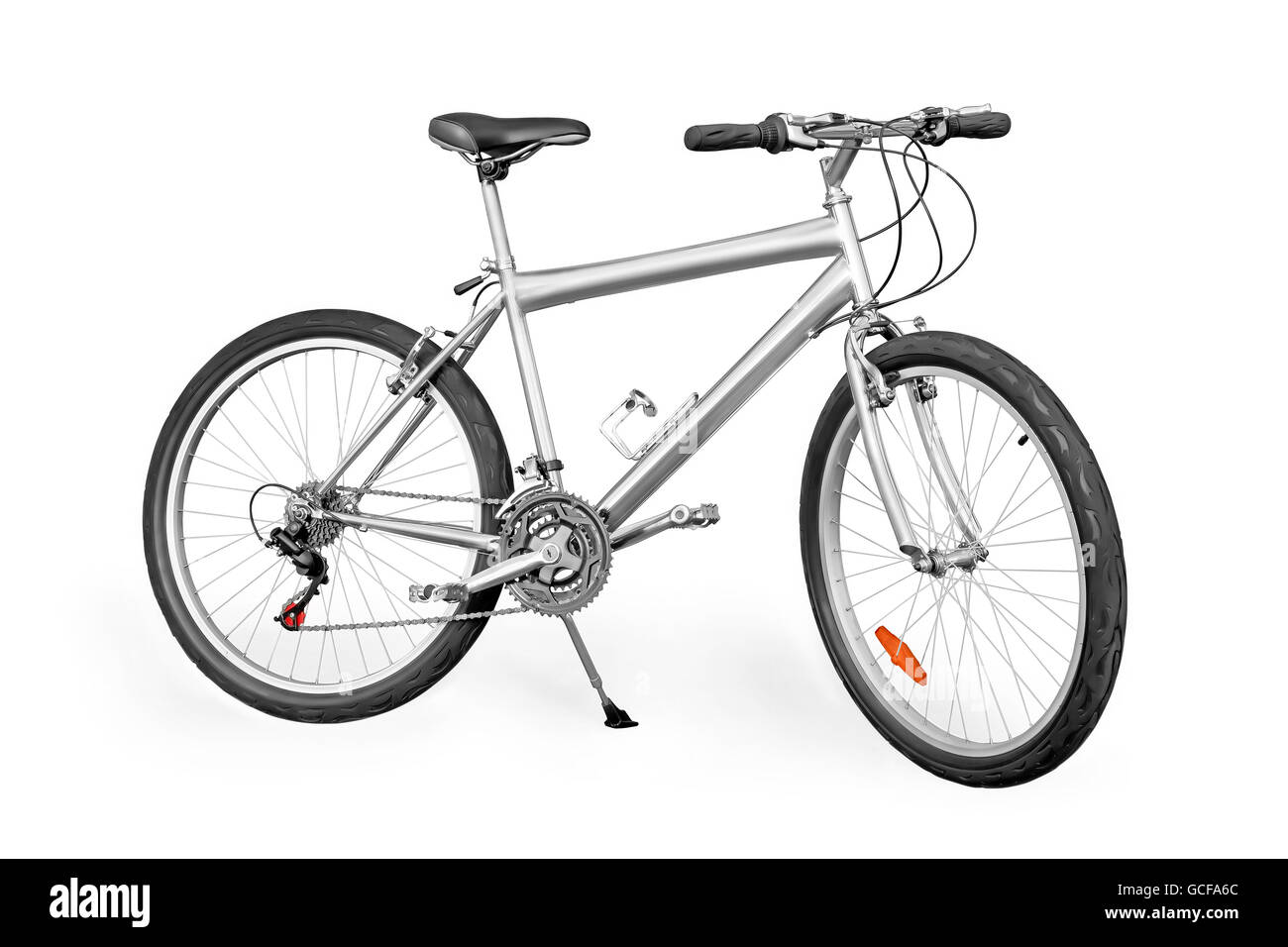 Silver colored unpainted entry-level mountain bike isolated on white with clipping path - Stock Image