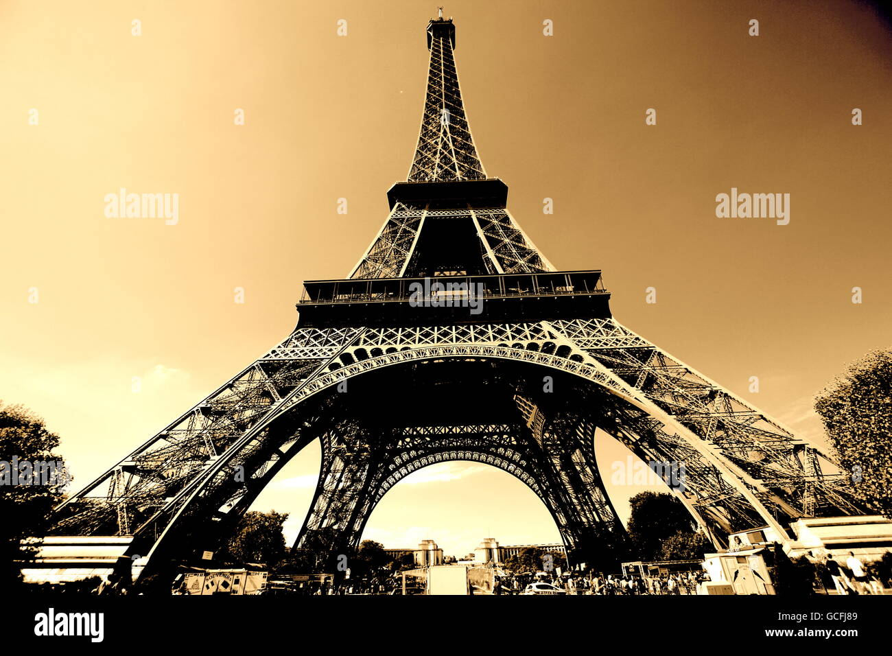 The Eiffel Tower sepia - Stock Image
