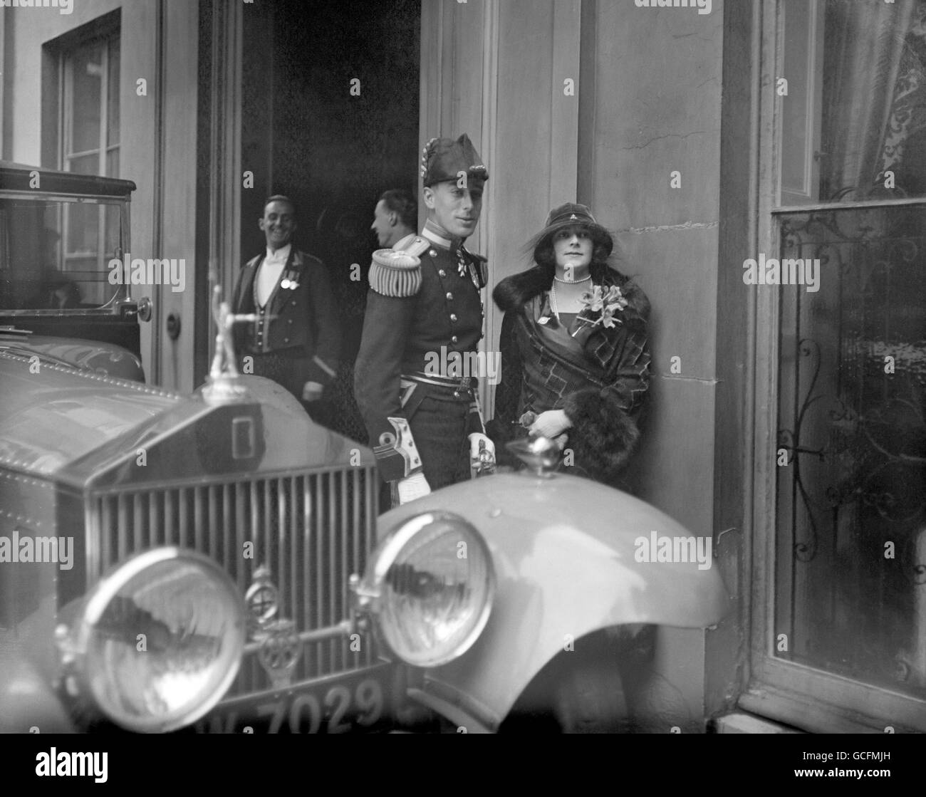 Lord and Lady Louis Mountbatten attend the wedding of his sister, Lady Louise Mountbatten to Crown Prince Gustaf Adolf of Sweden at the Chapel Royal, St Jame's Palace, London. Stock Photo