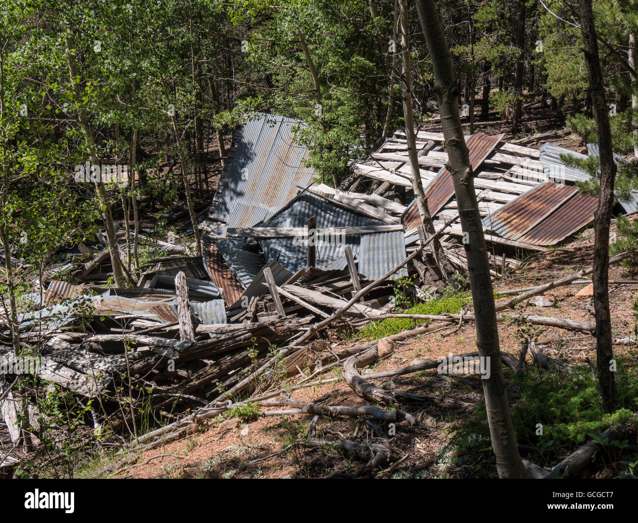 Remains of the mill, Old Mill Site, Staunton State Park, Pine, Colorado. - Stock Image